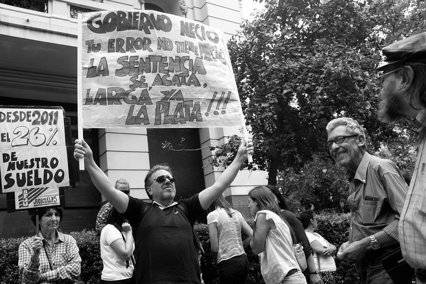 Movilización de judiciales frente al Palacio de Tribunales. Foto: Pablo Vignali (archivo, marzo de 2017)