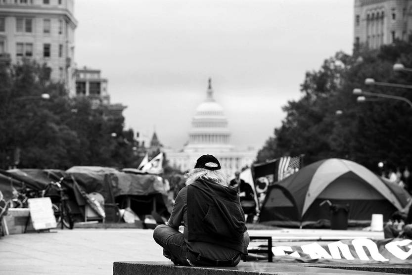 Participantes en el movimiento Occupy DC en la Freedom Plaza de Washington DC, Estados Unidos.