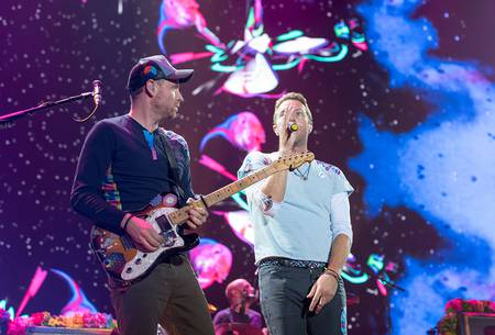 Coldplay en vivo en el Global Citizen Festival, en Hamburgo, 2017.