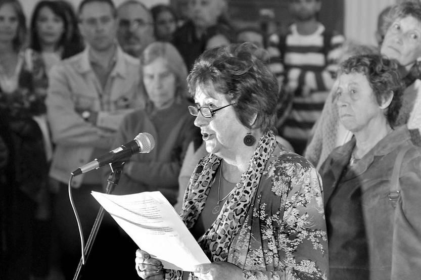 María Luz Osimani, el viernes, durante el acto de colocación de la placa recordatoria en la ex cárcel de Cabildo. Foto: Federico Gutiérrez
