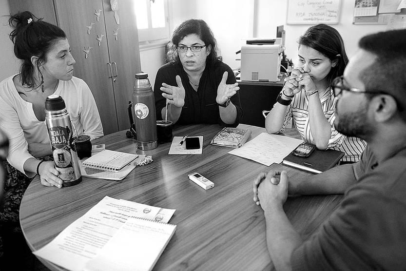 Lucía Monegal, Katyuska Motta, Maira dos Santos y Marcelo Díaz, ayer, en el Consejo de Formación en Educación. Foto: Santiago Mazzarovich