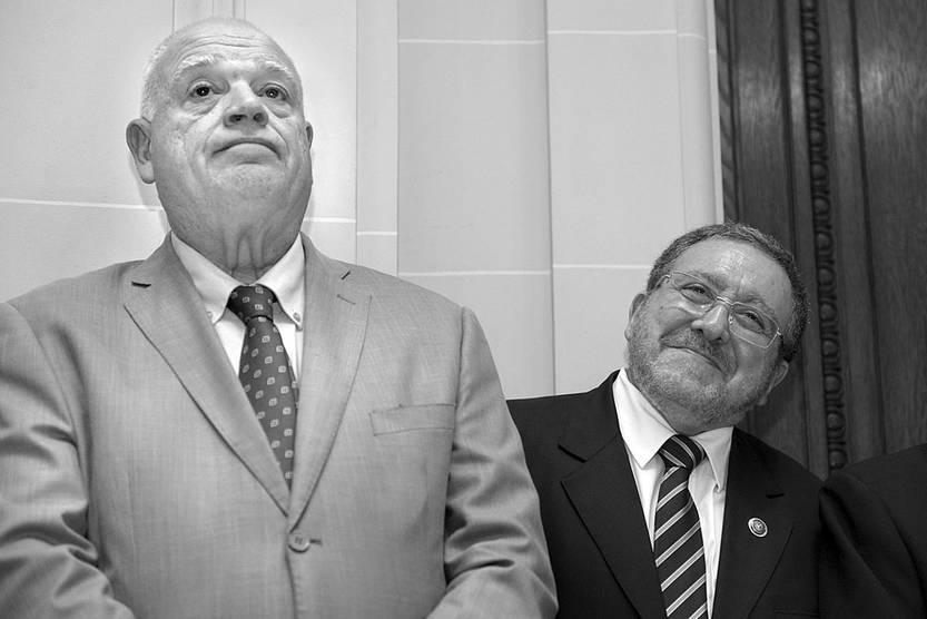 Ricardo Pérez Manrique y Jorge Chediak, ayer, en la Suprema Corte de Justicia. Foto: Andrés Cuenca