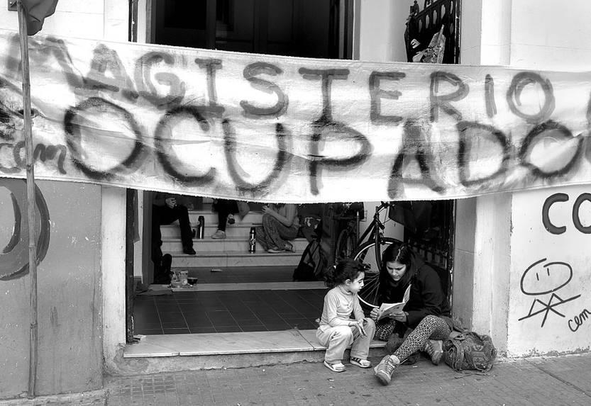 Sede de Magisterio ocupada, ayer. Foto: Pablo Vignali