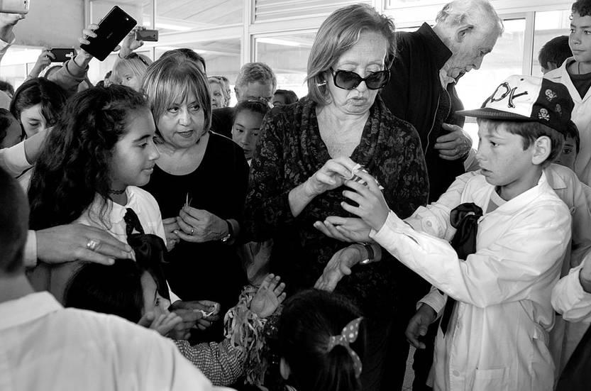 María Julia Muñoz en la inauguración de la escuela Nº 121 de tiempo completo, ayer, en Delta del Tigre, San José. Foto: Pablo Vignali