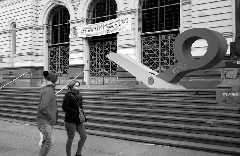 Intervención en la Universidad, ayer. Foto: Federico Gutiérrez