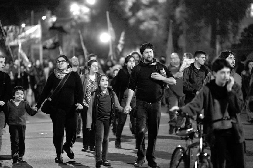 Marcha al Hospital Filtro, ayer, en Bulevar Artigas. Foto: Federico Gutiérrez