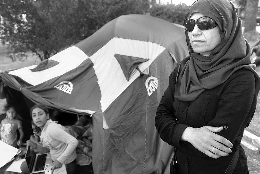 Karima Mohammed, ayer, en la plaza Independencia. Foto: Pablo Vignali