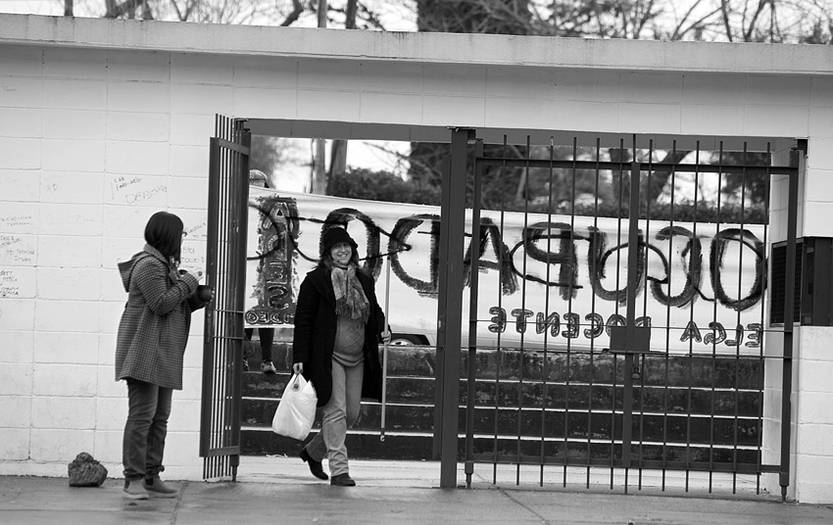 Liceo 45 de Montevideo, ocupado, el martes.