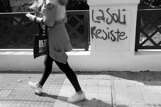Pintada cercana a la casa donde tenía su sede La Solidaria. Foto: Pablo Vignali