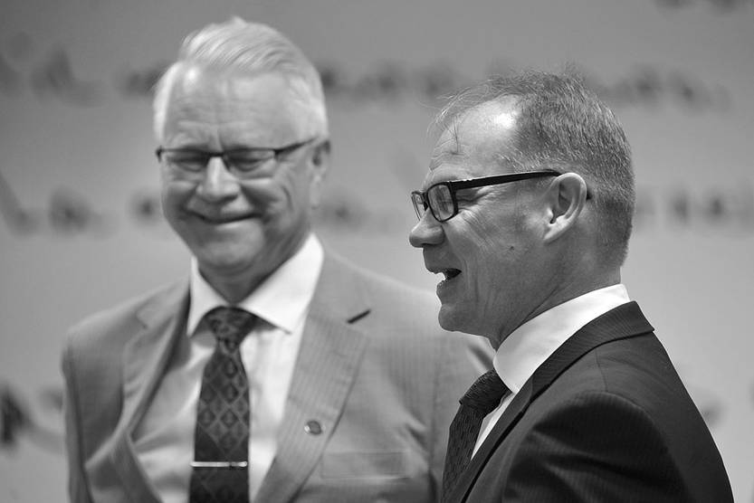 Matti Kuorelathi y Aki Ossi Tornberg, ayer, en la sala Idea Vilariño de la Torre de Antel. Foto: Federico Gutiérrez