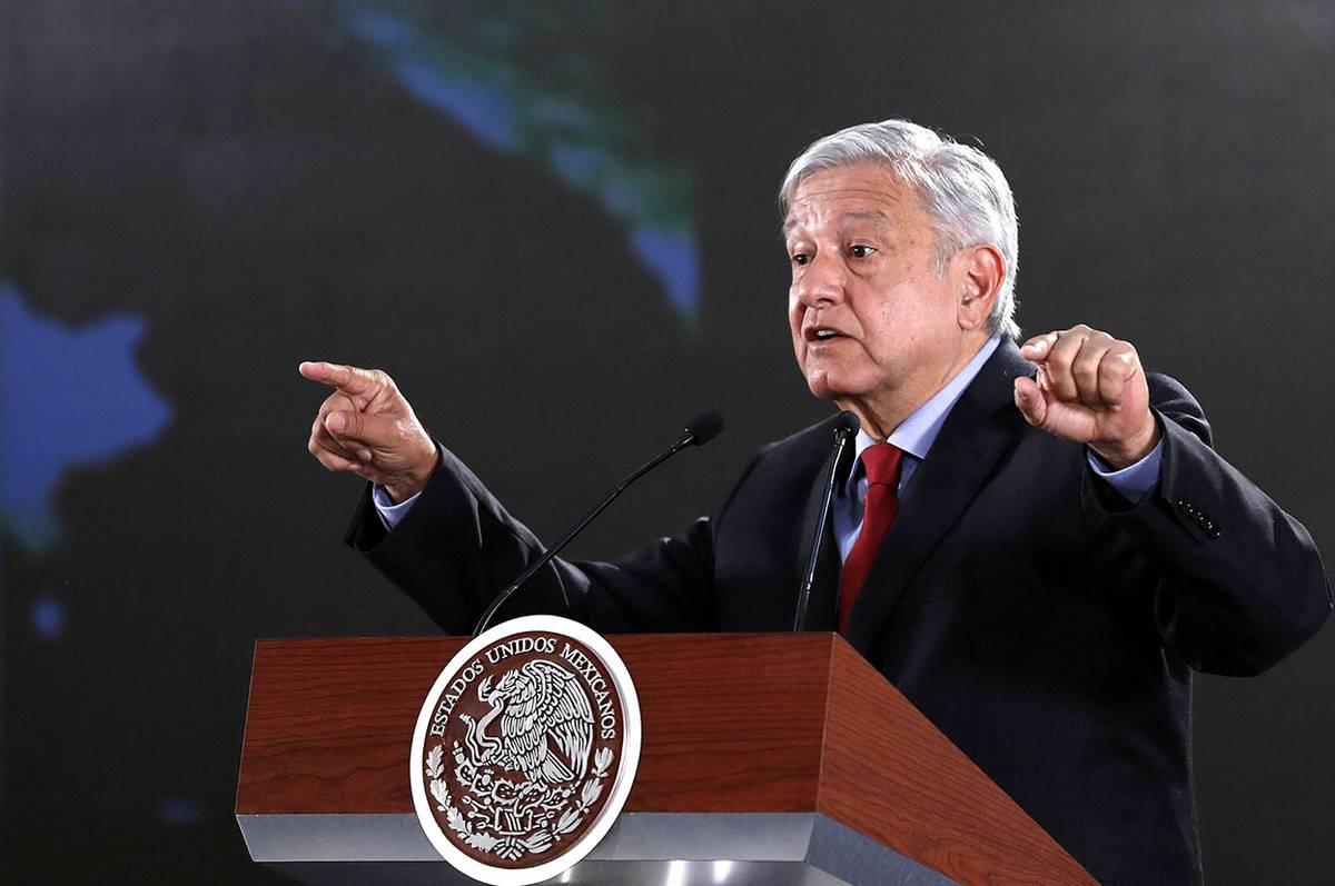 Andrés Manuel López Obrador, presidente de México, durante una conferencia de prensa en Palacio Nacional, en Ciudad de México.