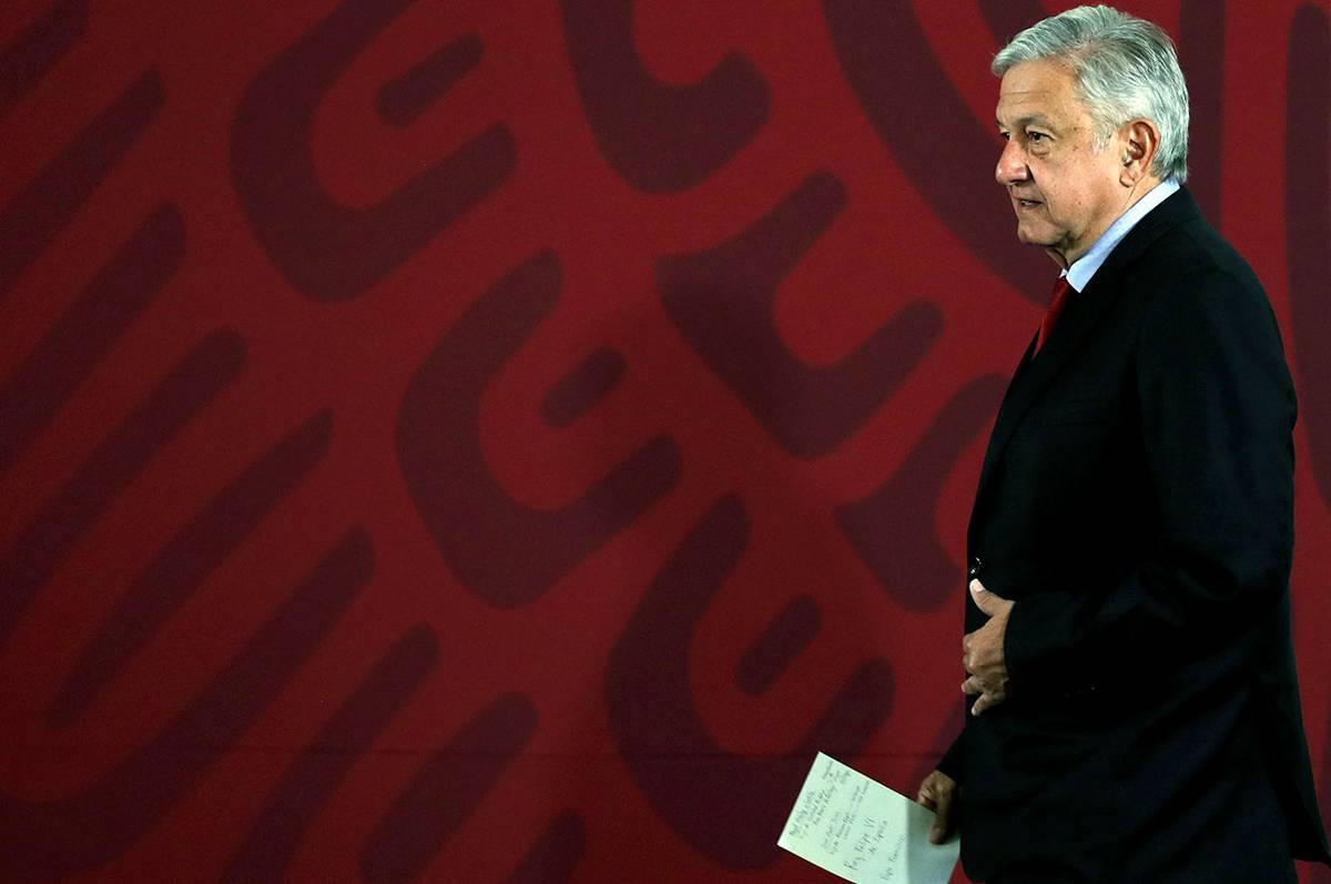 Andrés Manuel López Obrador, presidente de México, durante una conferencia de prensa en el Palacio Nacional, en Ciudad de México.