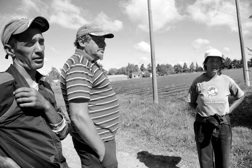 Diego, Israel y Rosana, trabajadores en conflicto en granja Los Andes, en la zona de Toledo.
