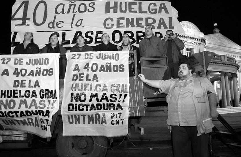 Acto convocado por el PIT-CNT recordando los 40 años de la huelga general que sucedió al golpe de Estado cívico-militar.